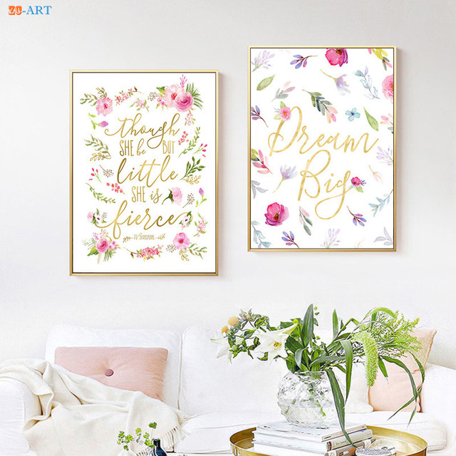 Pink Blush Poster Watercolor Flowers Canvas Painting Quotes Prints ...