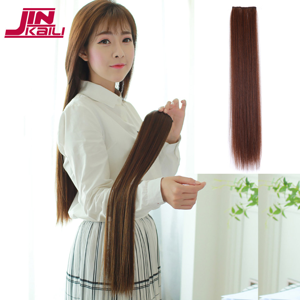 JINKAILI WIG Long Straight Hair One Piece3 Sizes 2 Clip Extensions Heat Resistant for Women Hair Extensions