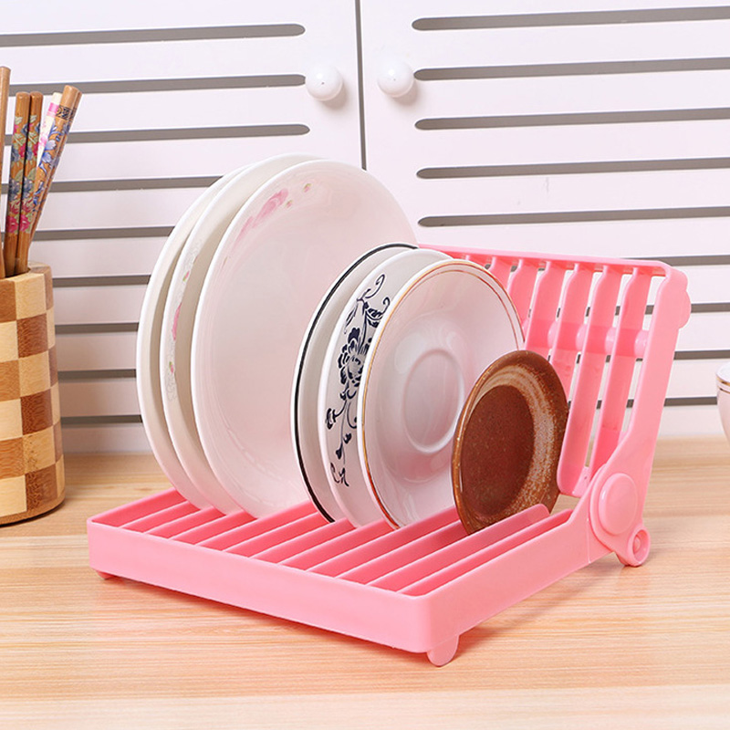 Foldable Tray Storage Plastic Drain Rack White Kitchen Organizer Dish Rack Shelf Plate Holder Home Kitchen Accessories