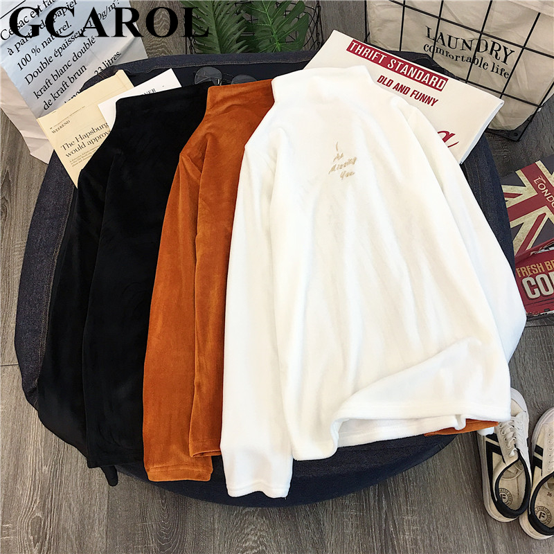 GCAROL New Fall Winter Stand Collar Women Corduroy Undershirt Full Sleeve Thick Corduroy Sweater Stretch Slim Fit Pullover