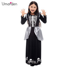 Umorden New Arrival Halloween Costumes for Girl Black White Skull Skeleton Dress Costume Cosplay Fantasia