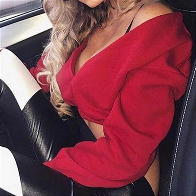 2019 kobiety jesień Crop nowa moda Sexy bluzy z kapturem z długim rękawem na co dzień kobiet bawełniane bluzy głębokie V Neck Off ramię bluzka