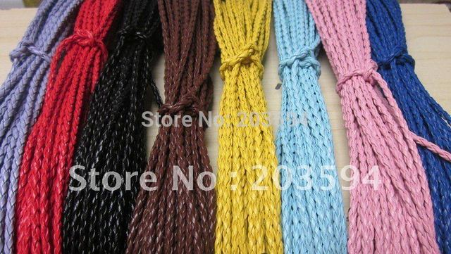 Wholesale 100pcs Mixed colors  braided leather necklace cord with lobster clasp 45cm