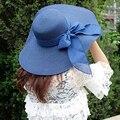 2016 moda dobrável Roll Up chapéu de palha para mulheres arco grande chapéu de sol borda sólida mulher Summer Holiday preto Floppy praia Cap Hat
