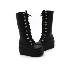 ShoesNew Motorcycle Boots Gothic Punk Shoes Cosplay Boots Knee High Heel Platform Sexy Zip Winter Wedges Knee High Boots