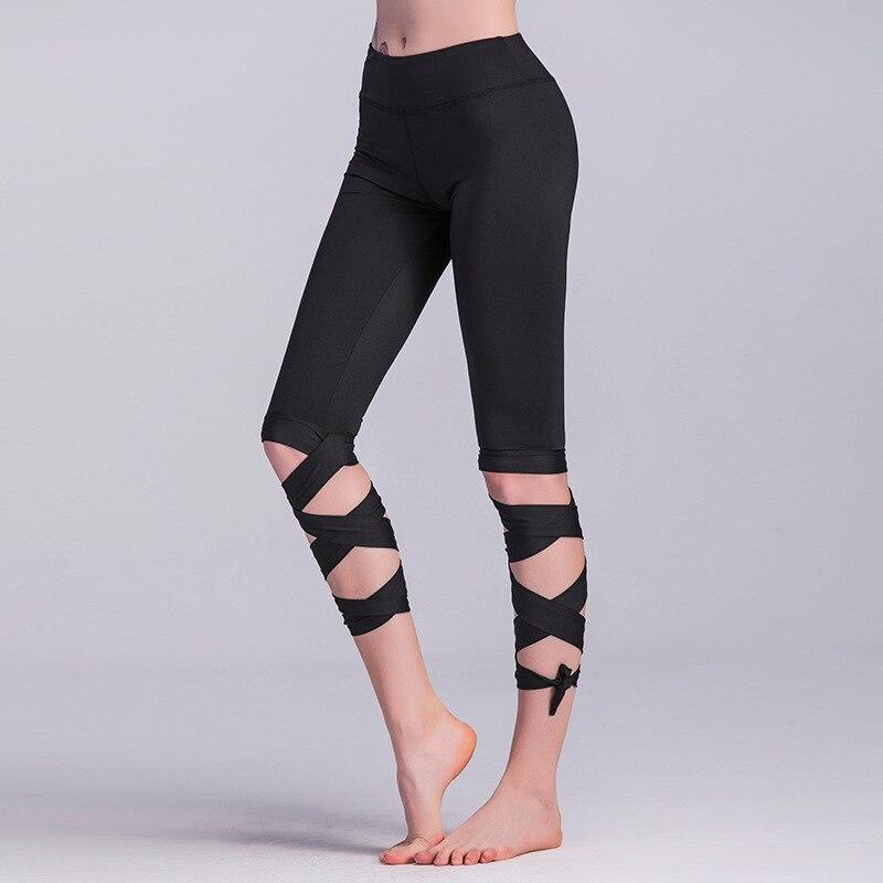 Elegant Solid Bandage Cross-line Leggings Contrast Women Sporting Capris Leggins Mujer Workout Fitness Cropped Calf-Length Pants