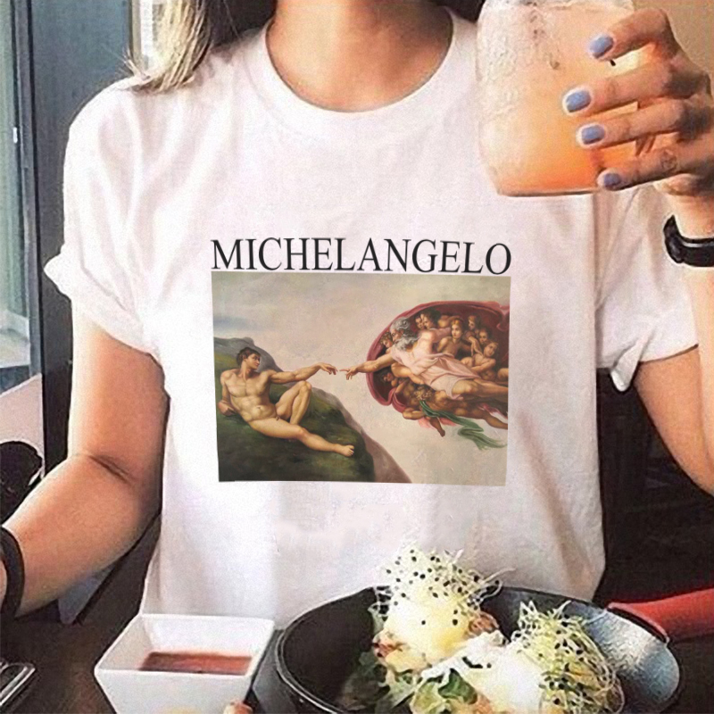 summer t shirts womens spaghetti off the shoulder tops for women Michelangelo Pattern print tee shirt femme aesthetic clothes invisible bra