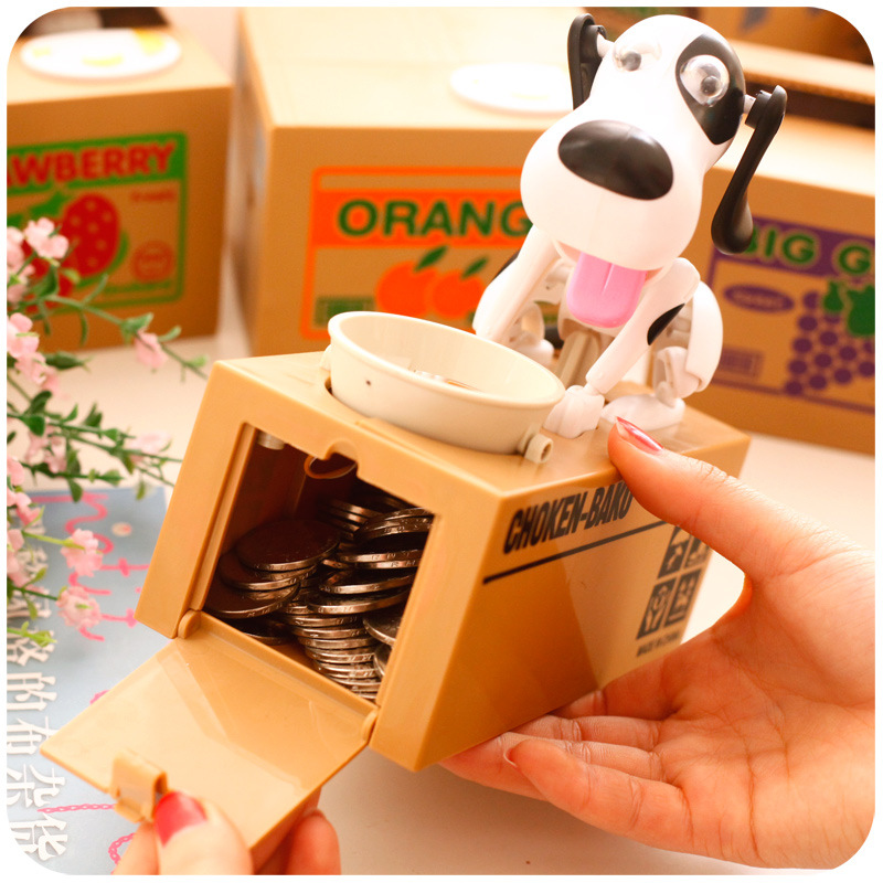 Automatic 1 Piece Saving Moneybox Gifts Toys for Kid Robotic Dog Banco Canino Catoon Puppy Hungry Stole Coin Piggy Bank Money 30