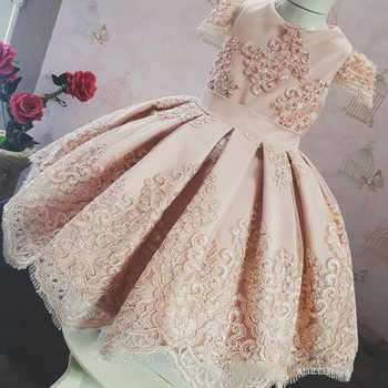 New Cute Pink Baby Girls Birthday Dresses Lace Applique Puffy Ball Gown 2019 Kids Pageant Gown Special Occasion Dress for Girls