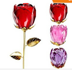 1pc 300mm crystal rose flower wedding gifts crystal glass rose flower crafts & gifts free shipping