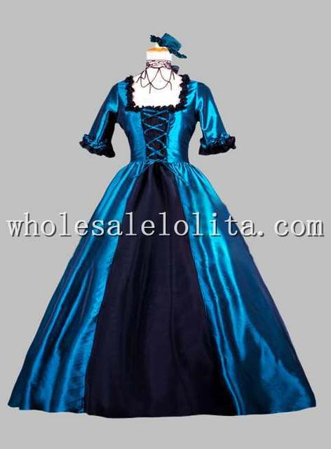 Gothic Blue and Black Victorian Era Dress Historical Stage Costume ... 12b2ded79151