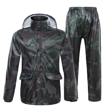 Camouflage Raincoat Suit Men Bike Waterproof Outdoor Adult Rain Coat Impermeable Motorcycle Rain Gear Jas Hujan Motor 50yc56