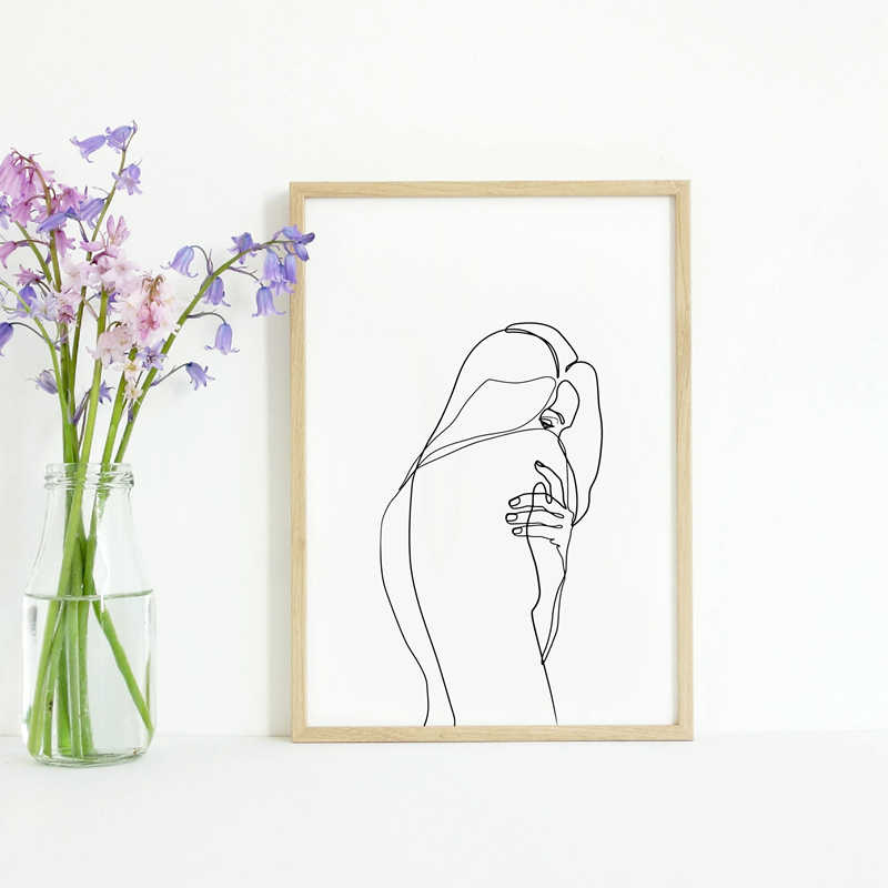 Abstract Woman Body Wall Art Canvas Posters Prints Female Naked Single Line Art Drawing Painting Black White Picture Home Decor