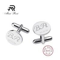 Men Wedding Gift Custom Logo Wedding Jewelry Round Laser Engraving 925 Sterling Silver Cufflinks Men Name Gemelos Shirt Button