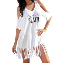 FEITONG casual 2018 ladies Party black White Summer Dress Womens Tassel Letters Print Baggy Beach
