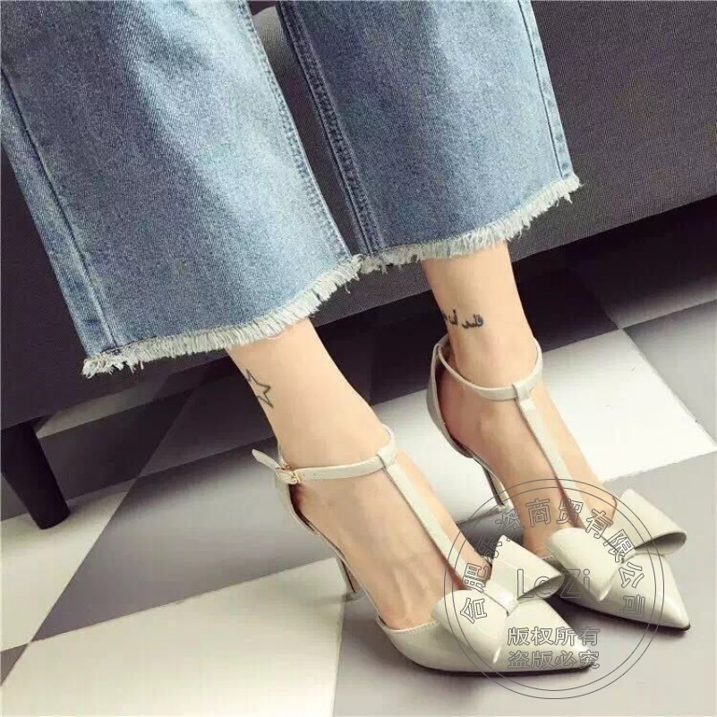 ФОТО Solid Stiletto Heels Side Hollow Slender Soft Leather Women Shoes High Heel Funky Woman Shoes Flock Butterfly Shoes China Casual