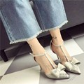 Solid Stiletto Heels Side Hollow Slender Soft Leather Women Shoes High Heel Funky Woman Shoes Flock Butterfly Shoes China Casual
