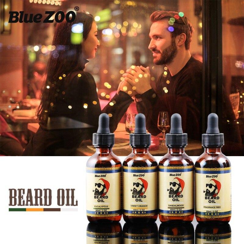 Blue ZOO Brand 60ml Organic Men Face Beard Oil 100% Natural Soften Oil Hair Growth Nourishing Cream For Beard Hair Grow yamaha valve oil light 60ml 03u