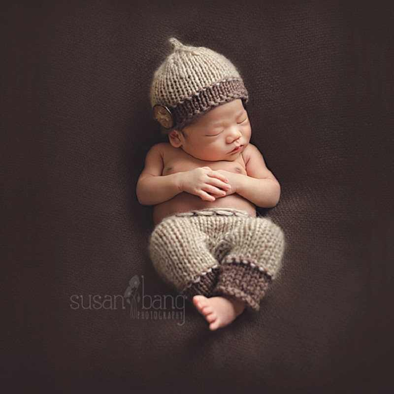 6aaa82913857c Newborn Baby Boy Crochet Hat+Pants Photography Props Outfits Infant Baby  Birthday Photo shoot Studio Props accessories Clothes