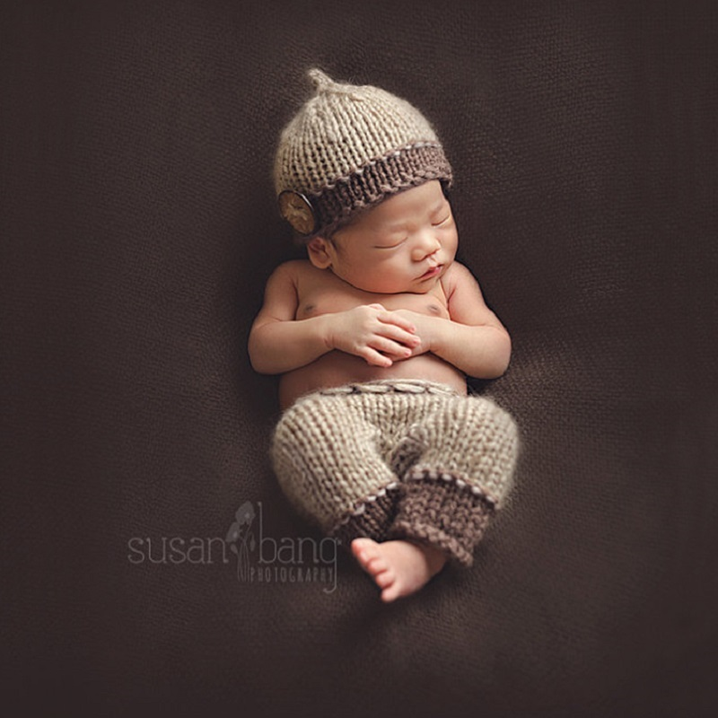№Newborn Baby Boy Crochet Hat+Pants Photography Props Outfits Infant . bc7e1c5db068