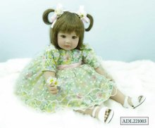 22 inch 55 cm Silicone baby reborn dolls, lifelike doll reborn babies toys Flower dress doll