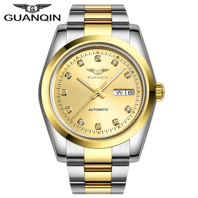 ФОТО GUANQIN GQ70005 Original Automatic Mechanical Watch Men Business Waterproof Wrist Watches Male Rhinestone Dial Calendar watches