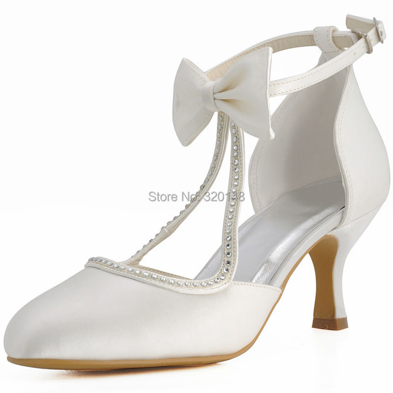 Women Shoes Bridal Shoes Closed Toe Mid Heels T-Strap Pumps Bows Satin Bride Lady Wedding Shoes EP31018 White Ivory Red