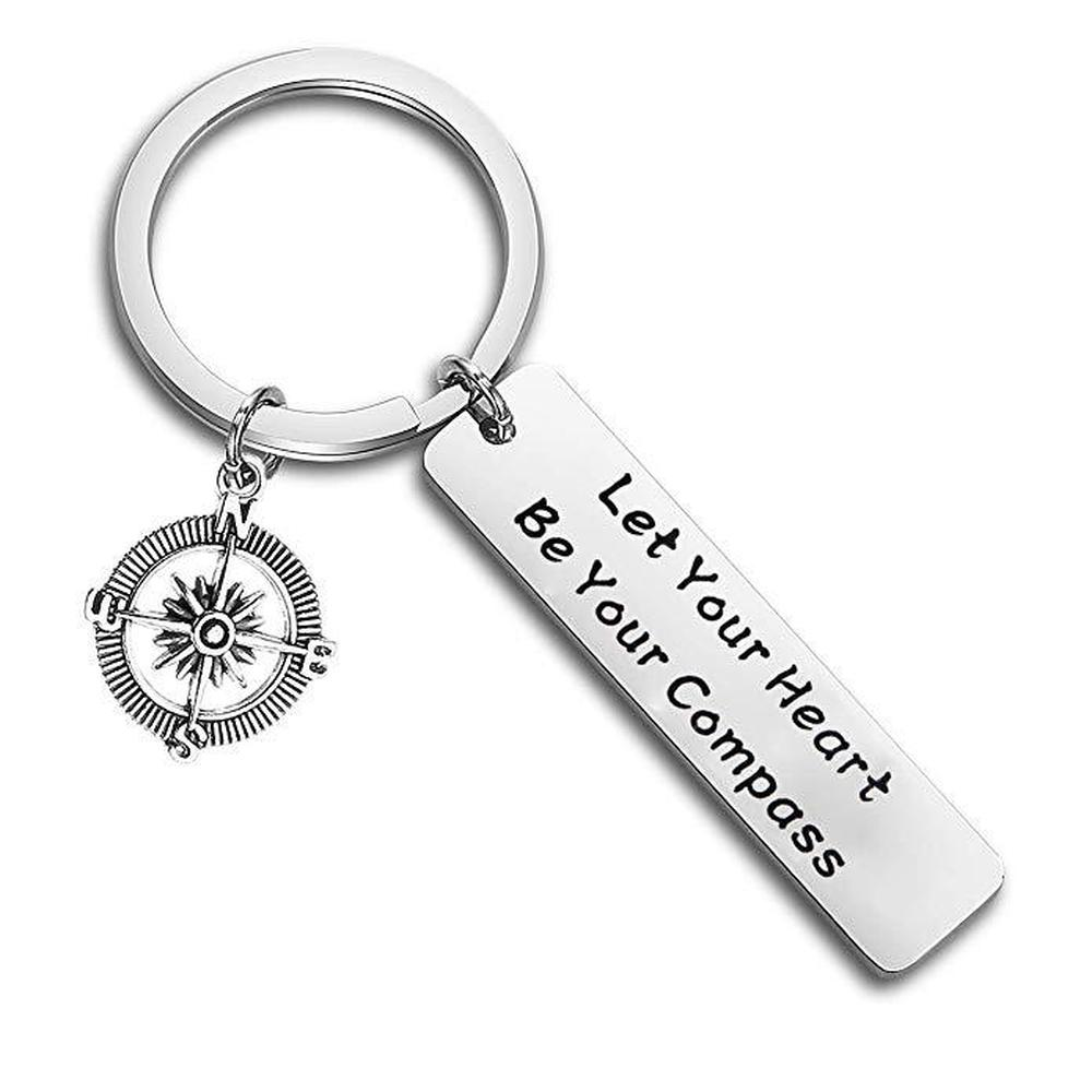 Yamily Let Your Heart Be Your Compass Engraved charm pendant key chain Inspirational keyring jewelry Best Friends jewelry gift image