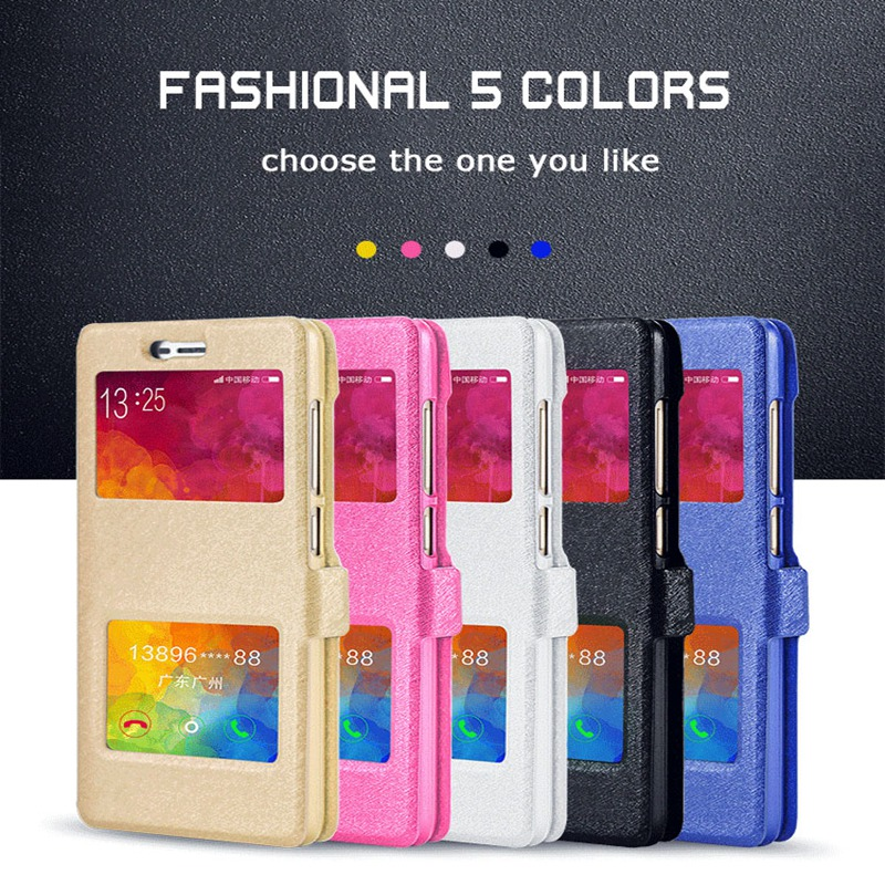 For Xiaomi redmi 3S /redmi 3 pro 3 S Case Luxury Quick Answer View Window Flip Silk PU Leather For Xiao Hongmi 3S Phone Case