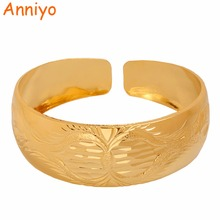 Anniyo Dubai Bangles Free Size for Women Gold Color Arab African Bracelet Jewelry Gifts #103406