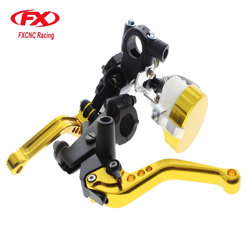 FX CNC 22mm Universal Adjustable Hydraulic Brake Cable Clutch Levers Master Cylinder Reservoir Set For KTM 125-300CC 7 8 22mm universal motorcycles brake clutch levers master cylinder reservoir for suzuki 125 300cc moto hydraulic brake lever