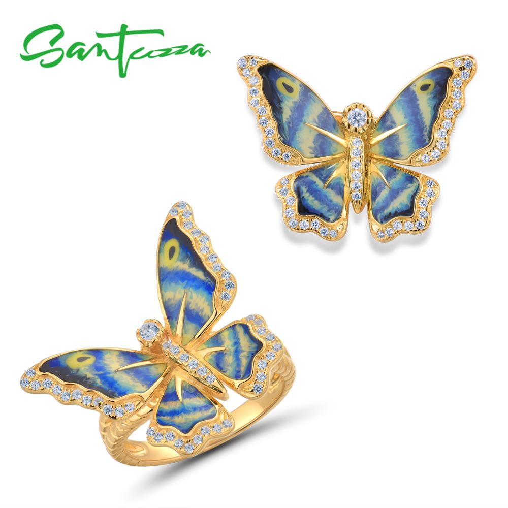 SANTUZZA Silver Jewelry Set For Women 925 Colorful Enamel Butterfly Brooch Ring Set Party Fine Jewelry HANDMADE