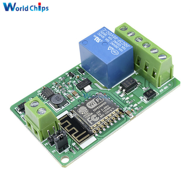 ESP8266 ESP-12F Relay Module 10A 220V Network Relay WIFI Module Input DC 4 Layers Board TVS Input Automatic Protection Green