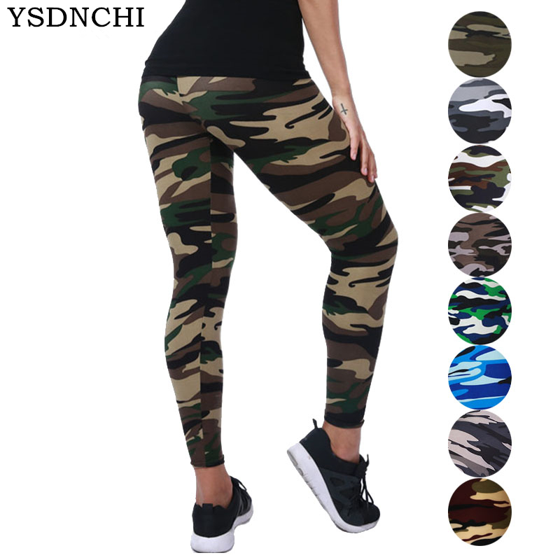 YSDNCHI 2019 Camouflage Womens For Leggins Graffiti Style Slim Stretch Trouser Army Green Leggings Deportes Pants K085