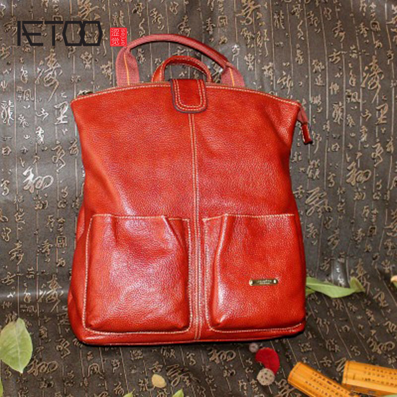 AETOO Shoulder bag 2017 new women leather shoulder bag travel bag 100% genuine leather backpack multi-purpose bags aetoo 2017 new 100