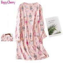 Womens Long Sleeve Nursing Nightie pajamas maternity nightwear Cute Cotton Breastfeeding Dress Lounge Sleeping Clothing