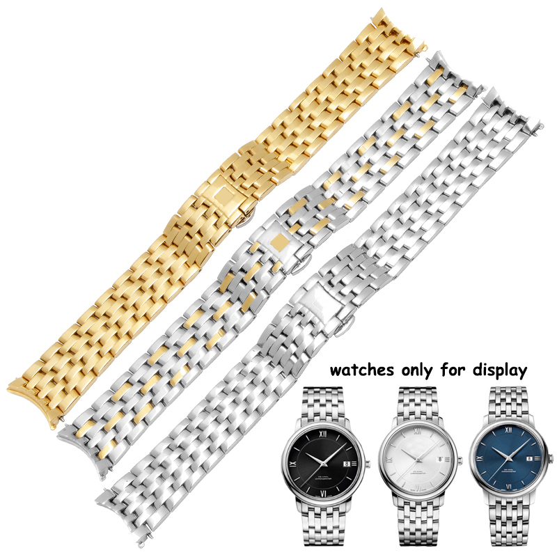 Replacement stainless steel watchband 20mm gold bracelet metal strap deployment buckle fit Omega De Ville все цены