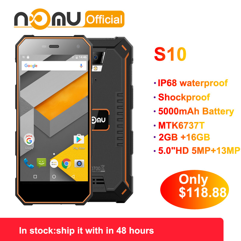 """Generous Official Nomu S10 2gb 16gb 4g Ip68 Android 6.0 8.0mp Dual Sim Mobile Phone 5.0""""hd Mtk6737t Quad Core 1280x720 5000mah Smartphone To Assure Years Of Trouble-Free Service"""