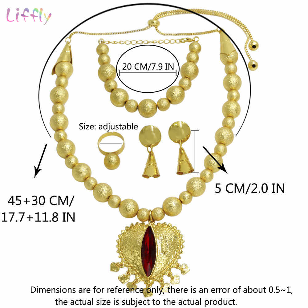Liffly модное украшение в африканском стиле комплект Для женщин турецкие свадебные свадебный подарок с хрусталем ожерелье в виде сердца ювелирные комплекты Dubai