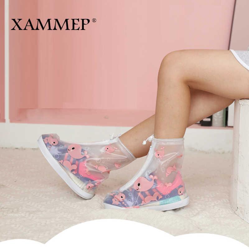 כיסויי נעליים עמיד למים לשימוש חוזר רובוטים Chlidren נעלי סניקרס גשם כיסוי עבור נעלי ילדים דירות אביזרי גדול גודל Xammep