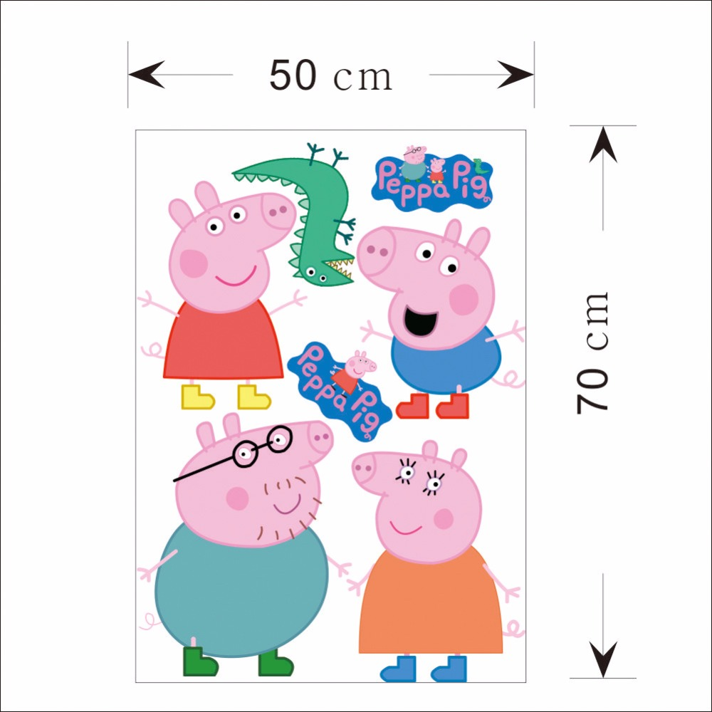 Pink cute peppa pig wall stickers george cartoon home decor for pink cute peppa pig wall stickers george cartoon home decor for kids girl baby bedroom animal diy removable vinly wallpaper in underwear from mother kids amipublicfo Images