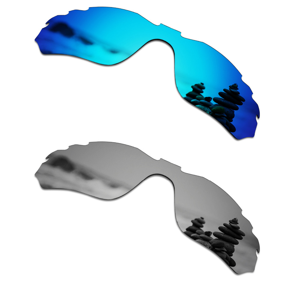 SmartVLT 2 Pieces Polarized Sunglasses Replacement Lenses for Oakley Radar Edge Vented Ice Blue and Silver Titanium