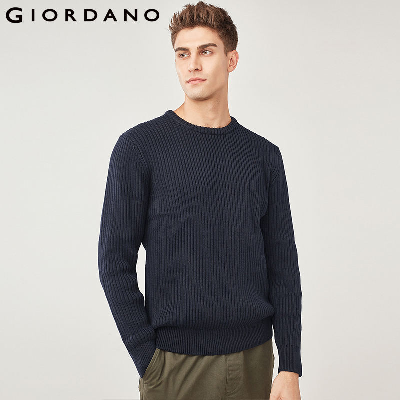 Giordano Men Sweater Men Thick Jacquard Ribbed Crewneck Sweater Long Sleeve Sueter Hombre Heather Color Mens Sweater Pullover
