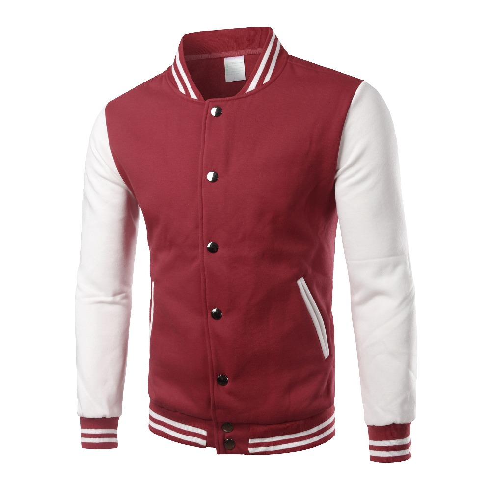 Image 2 - Brand White Varsity Baseball Jacket Men/Women 2016 Fashion Slim Fit Fleece Cotton College Jackets For Fall Bomber Veste Homme-in Jackets from Men's Clothing