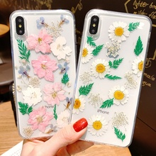 Tfshining Dried Real Flowers Phone Case For iphone XR XS Max X Transparent Pressed Floral Soft TPU Cover iPhone7 8 6 6S Plus