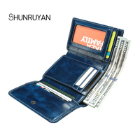 SHUNRUYAN Mini Wallet Coin Card Bags Genuine Leather Purse Designer Clutch Money Bag Coin Pocket Women's cow leather short Walle
