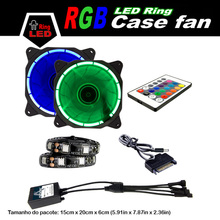 ALSEYE LED Fan, Dual 120mm LED Ring RGB fans Color Adjustable 12v 1300RPM 43CFM & 2 Strips 18LEDs with LED Remote Controller Set
