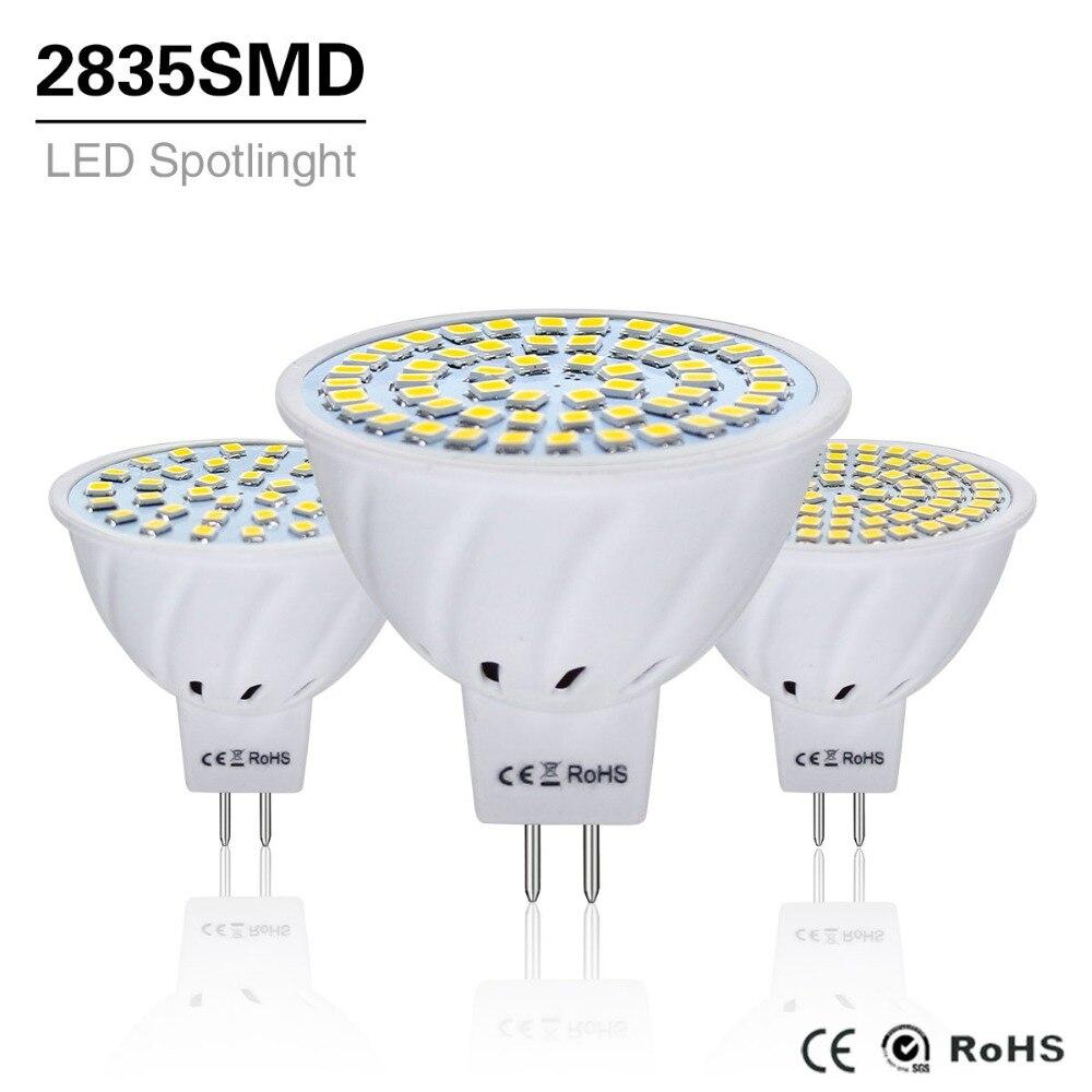 10Pcs 4W 6W 8W LED Lamp MR16 AC / DC 12V 24V Led Bulb Light Gu5.3 Mr 16 Led Spotlight 220V 2835SMD Led Lighting White/Warm White