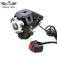 12 В в черный светодио дный мотоцикл светодиодное освещение туман пятно головного света лампы для ATV Байк Скутер Honda Yamaha Kawasaki Suzuki