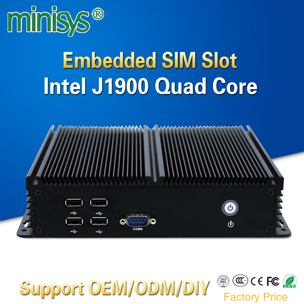 Minisys Assemble Mini ITX Computer Desktop PC With Celeron J1900 Quad Core 6 RS232 COM 1 USB3.0 5 USB2.0 Support Windows 7 8 10 мышь oklick 975gw черный оптическая 2400dpi беспроводная usb игровая 6but